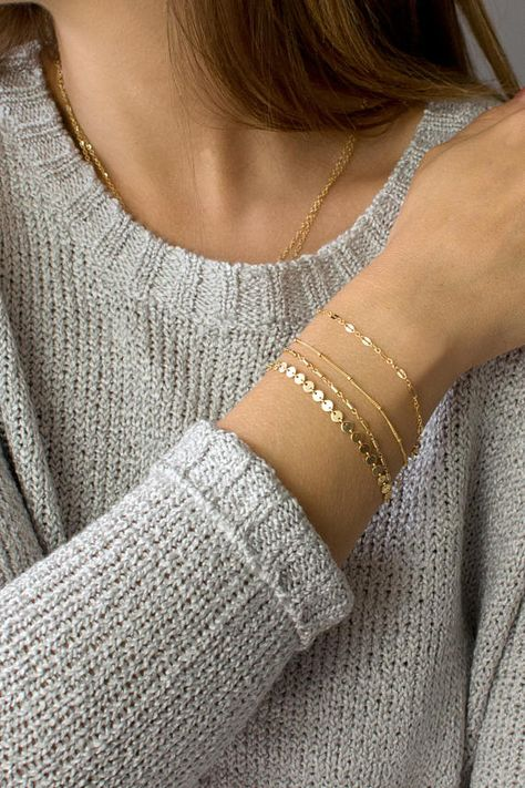 Dainty Chain Bracelet Delicate Bracelets for Women Layering Bracelet Gold Chain Coin Tube Lace Satellite Chain Armband