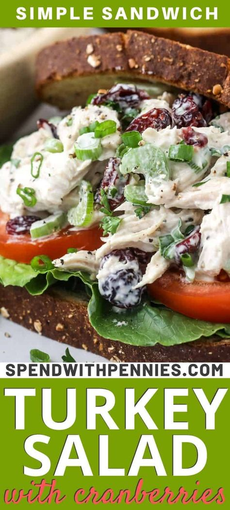 My family's favorite thing to make with leftover turkey is turkey salad sandwiches! It's a simple and delicious lunch or snack after the busy holidays. We make this easy recipe with cranberries and pecans for extra tang and crunch! #spendwithpennies #turkeysalad #turkeysaladsandwich #sandwich #lunch #salad #withcranberries