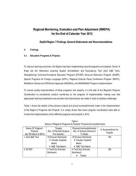 Regional Monitoring, Evaluation and Plan Adjustment (RMEPA)for the - technical evaluation