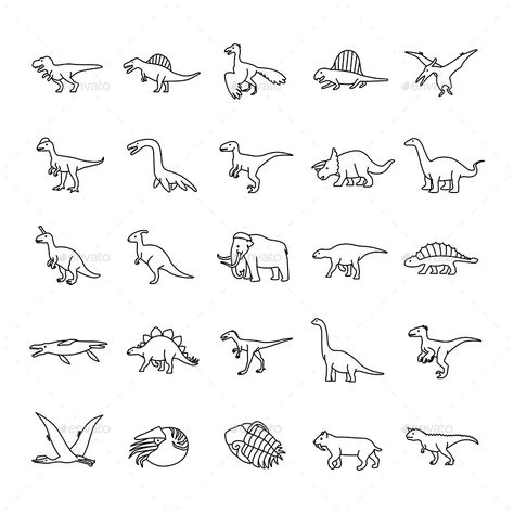 Fußtattoos - Prehistoric Animals Outlines vector icons Prehistoric Animals Outlines vector i -