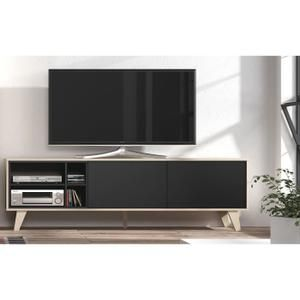 Zaiken Meuble Tv Scandinave Gris Anthracite Et Decor Chene L 180 Cm Meuble Tv Meuble Tv Scandinave Meuble