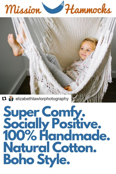 We make some of the most comfortable hammock chairs in the world! Our macrame hanging chair is handmade using all natural cotton, and makes a statement in any room, including bohemian decor. Best used in the bedroom, living room, patio, or any other small space where you'd like to create a seating area.