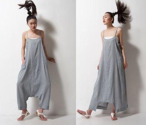 gris lino maxi vestido de pantalonesun pantalon un por dongli