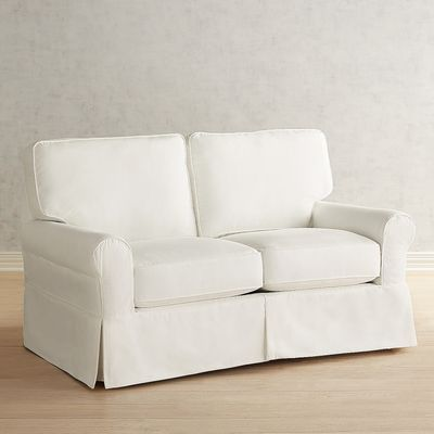Our Lia Slipcovered Collection Has Been Designed As A Family Friendly Option It S Covered In Our Comfortably D Love Seat White Slipcovers White Slipcover Sofa
