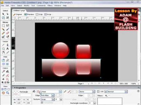 Shiny reflective gel buttons video tutorial in adobe fireworks cs3.