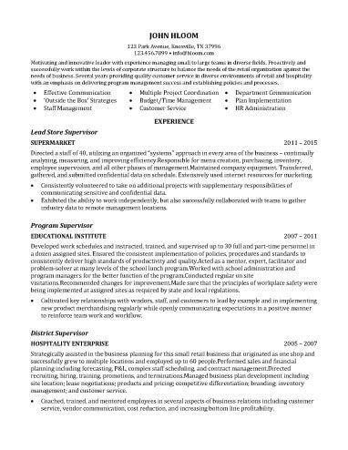 Store Supervisor Resume Sample Customer Service Resume Resume Summary Examples Resume