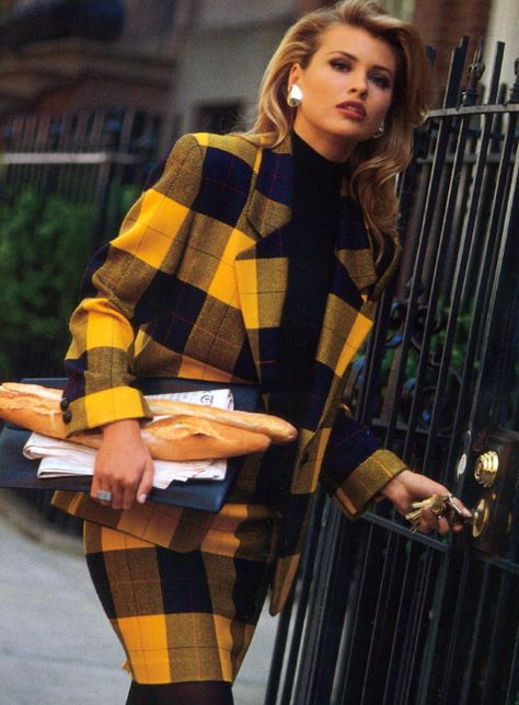 Yellow and Black Plaid Skirt Suit - Classic FROM: Ellen Tracy Daniela Pestova