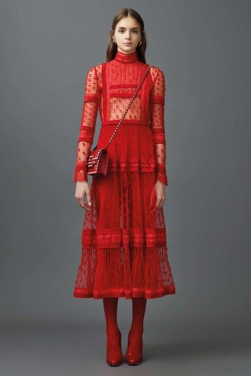 Resort 2017 | Valentino | Red lace midi dress | The Luxe Lookbook
