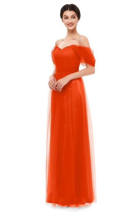 cc2a5942516d2 ColsBM Haven Persimmon Bridesmaid Dresses Zip up Off The Shoulder Sexy  Floor Length Short Sleeve A-line