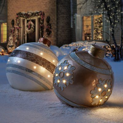Member S Mark 24 Pre Lit Resin And Mosaic Ornaments Various Styles Sam S Club Large Christmas Ornaments Large Outdoor Christmas Ornaments Giant Christmas Ornaments
