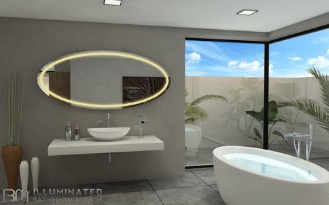 Ibmirror Illuminated Vanity Mirror Paris Oval Tokyo Style Backlit Bathroom Mirror Illuminated Mirrors Mirror