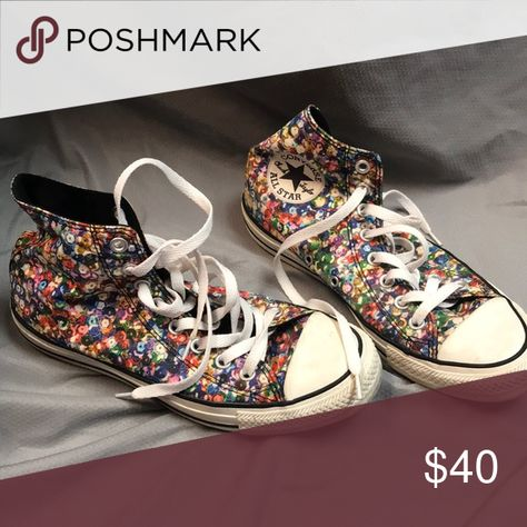 802adf5a7ef5 High-Top Converse Printed sequence design high-top converse, in good  condition, have been worn a few times Shoes Sneakers