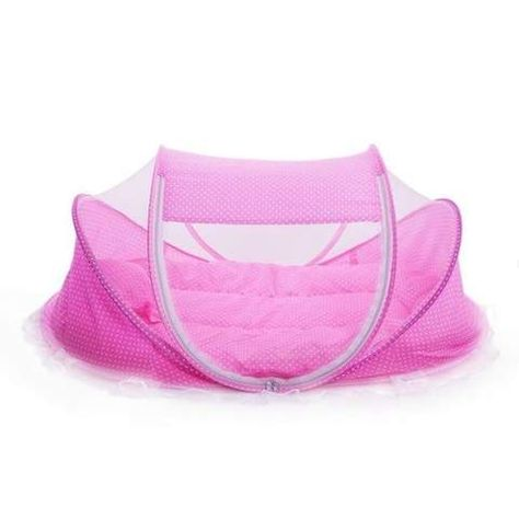 6c4d334b8 Cute Baby Crib 4Pcs Portable Type Comfortable Babies Pad With Sealed Mosquito  Net Baby Mosquito Net Pink