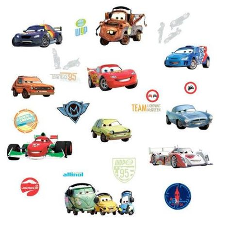 Disney Cars 2 Movie Wall Decals Lightning McQueen Mater Stickers Decor