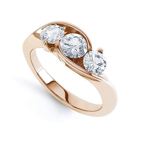 f9325a5a175cb9 Modern Round 3 Stone Crossover Diamond Ring Perspective View in Rose Gold