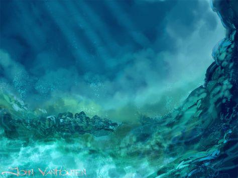 underwater painting with sunrays - 792×594