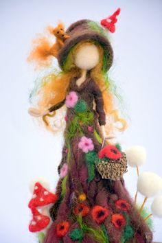 Needle felted art fantasy doll Tree guardian Waldorf inspired | Etsy