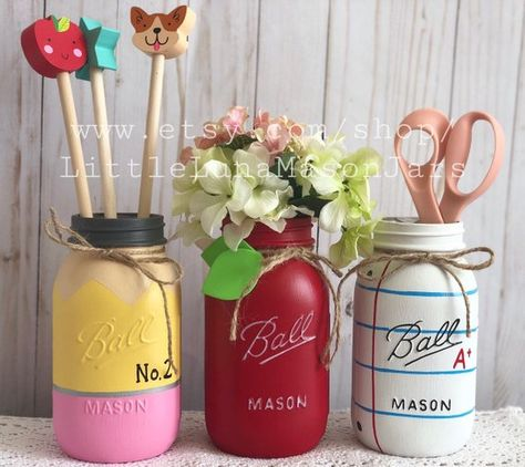 All items are made to order **Current turn around time to make the item(s) is 8-10 days. Then 2-3 days for shipping. The perfect gift for that sweet teacher. This listing includes the 3 large quart sized jars. Everything inside of the jars are a prop and are not included. You can find these items at