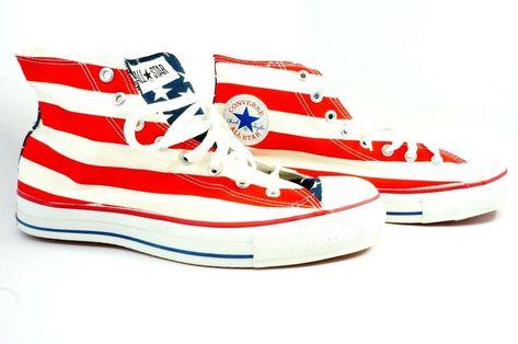 VINTAGE Rare Red Sole Converse Hi Top Sneakers Chuck Taylor