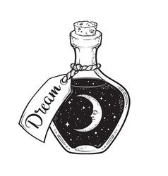 Hand Drawn Dream In Bottle With Moon And Stars Vector In 2020