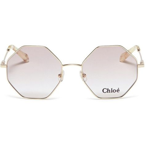 537f85e241e9 Chloé 'Palma' octagon frame metal sunglasses ($310) ❤ liked on Polyvore  featuring accessories, eyewear, sunglasses, metallic, octagon glasses, ...