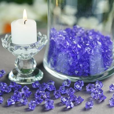 400 Pack Purple Mini Acrylic Ice Bead Vase Fillers Table