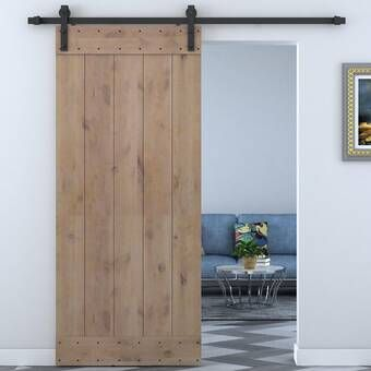 Paneled Wood Unfinished Barn Door With Installation Hardware Kit Wood Barn Door Wood Doors Interior Barn Doors Sliding
