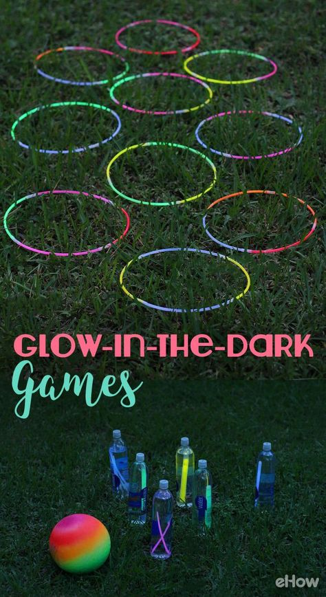 DIY Glow-in-the-Dark Games Super fun games to play outdoors on cool nights! Glow sticks are a really Glow Stick Games, Glow Stick Party, Glow Sticks, Camping Games Kids, Games For Boys, Kids Party Games, Water Games For Kids, Camping Activities, Camping Ideas