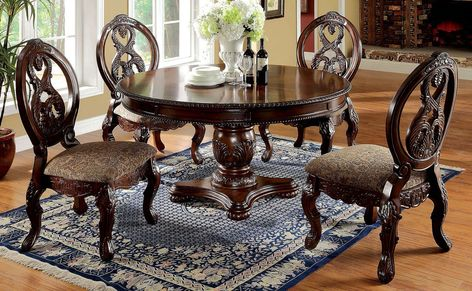 5 pc tuscany i antique cherry finish wood round pedestal dining table set. This set includes the Table and 4 side chairs. Table measures round x H. Side chairs measure x D x 44 H Seat height and seat depth).