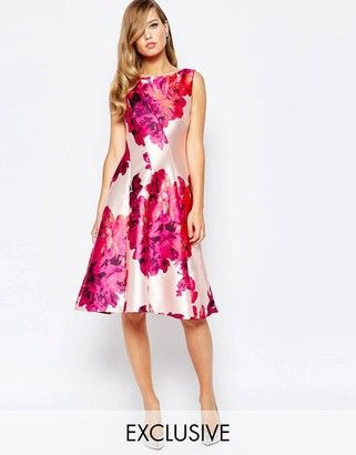 038f0a3f9e True Violet Full Sateen Skater Dress In Bold Floral Print  prom ...