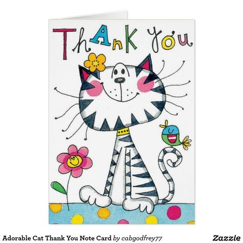 Adorable Cat Thank You Note Card