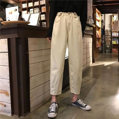 Jeans Womens Plus Size Solid High Waist - beige / M