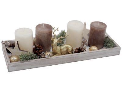 Weihnachtsdeko Gold Braun.Adventsgesteck Weihnachten Tablett Deko Hirsch Gold Kerzen Braun