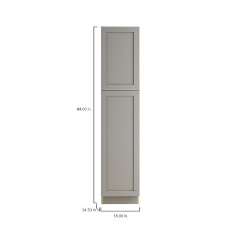 5c90b60247ba Hampton Bay Cambridge Assembled 18x84x24 in. Pantry Cabinet with adjustable  shelves in Gray-CM1884P-KG - The Home Depot