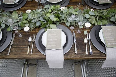 rustic grey wedding table setting