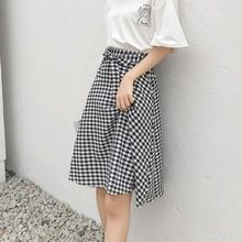 2a0fabfc1d Summer Women Skirts Thin Plaid Elegant Pleated Print Patchwork Chic Girl Long  Skirts Female A-