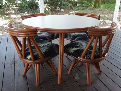 Groovy Vintage Mid Century Modern Vogue Rattan Round Table 4 Short Links Chair Design For Home Short Linksinfo