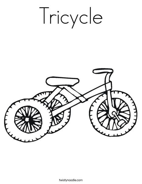 Tricycle Coloring Page Twisty Noodle Coloring Pages