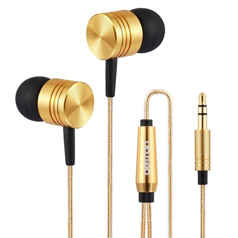 894c72f9a59 Betron B650 Noise Isolating Earphones Headphones, Powerful Bass, Pure Sound  for iPhone, iPad, iPod, Samsung, HTC, Nokia etc (Gold)