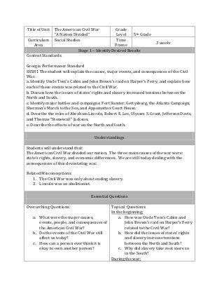 Ubd lesson plan Civil War teaching Pinterest Lesson plan - sample lesson plan