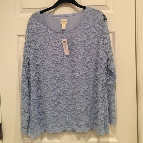 NWT-Chico's blue lace style blouse NWT-Chico's baby blue lace style blouse. Beautiful scalloped hem. Built in lining. Can be dressed up for work or down for a casual day. Chico's Tops