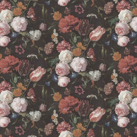 Woodchip and Magnolia Dutch Floral Wallpaper