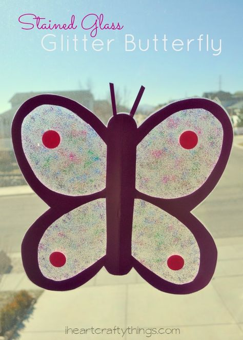Stained Glass Glitter Butterfly Kids Craft. Great spring kids craft. | from iheartcraftythings.com