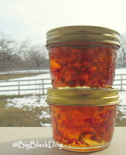 Pepper Basil Jelly: I made this and did not put in any red pepper; for looks I would recommend.  I used 1/4 c of jalapeno pepper and it definitely could have used more heat.  Overall great recipe.