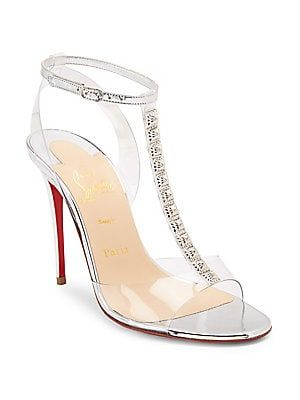 Jamais Assez Embellished T Strap Sandals 100mm Heel Leather Pvc Christian Louboutin Christian Louboutin Louboutin Christian Louboutin Shoes
