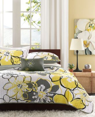 FULL //DOUBLE 9 Apt Ivy Yellow Gray Cream Floral  SHAM /& COMFORTER SET