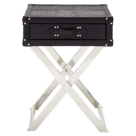 Decmode Faux Leather Foldable End Table 70666 End Tables