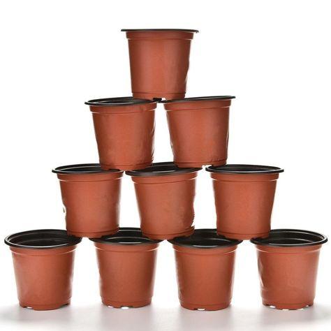 10 Pcs/set Plastic Round Flower Pot Nursery Pots Planter Home Garden Decorating Supplies 9 X 8 X
