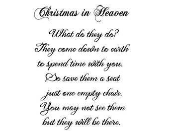 Christmas In Heaven Poem With Chair Printable.Christmas Holiday Memorial In Heaven Table Top Display By