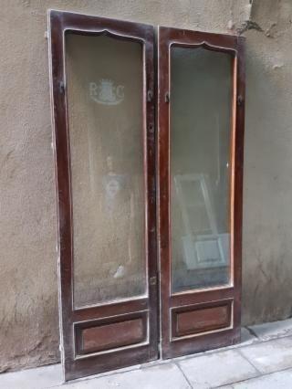 2 Puertas Antiguas Del Hotel Colon De Los Años 40 Muy Original De Madera Maciza De Iroko Medidas 69cm X 232cm X 2 Pu Puertas Antiguas Losas Macizas Puertas